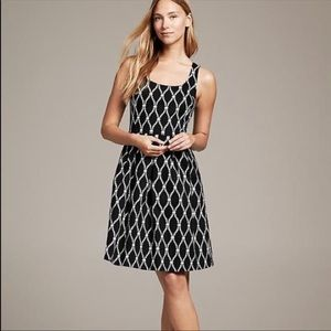 Banana Republic Black White Rope Flare Dress 0
